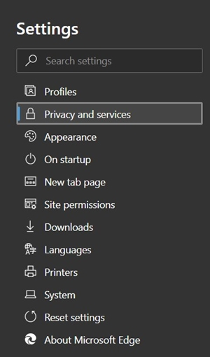 privacy and services settings