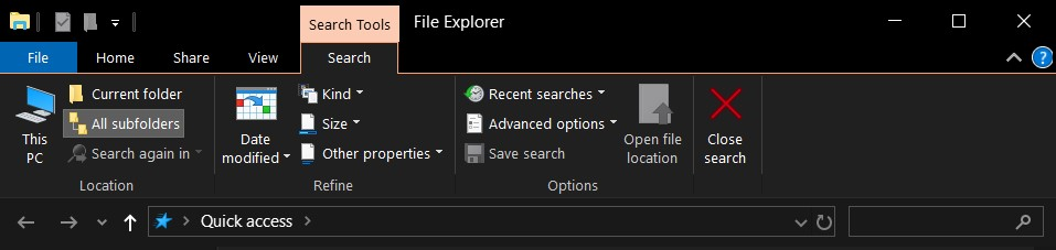 file explorer search shortcut