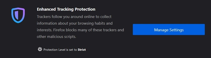 tracking protection settings