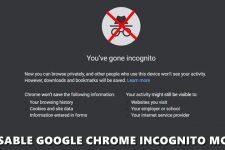 disable chrome incognito