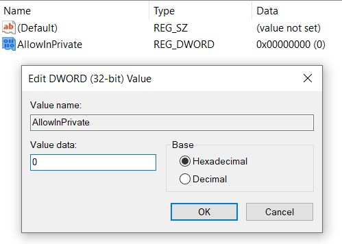 inprivate edge dword value