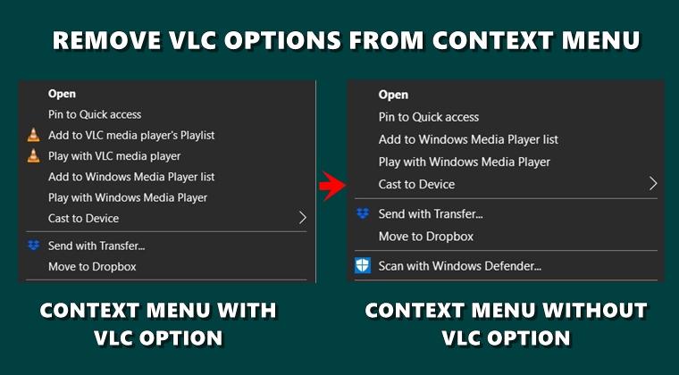 remove vlc context menu