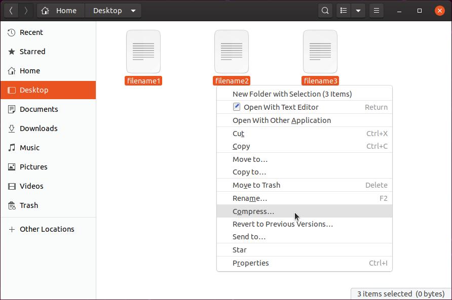 compress files ubuntu
