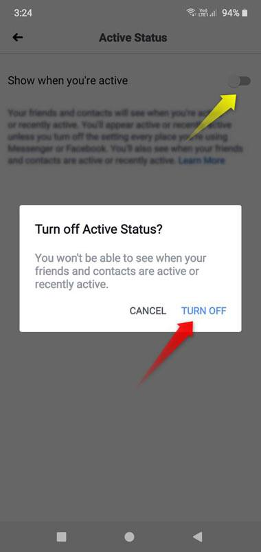 Turn off active status on Facebook