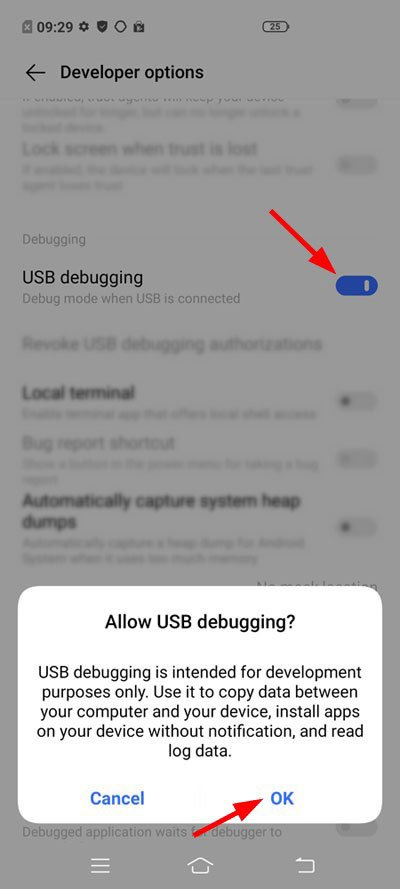 vivo developer options and usb debugging