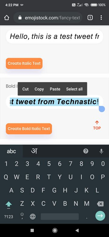 copy bold text for twitter