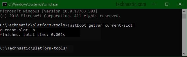 fastboot getvar current-slot