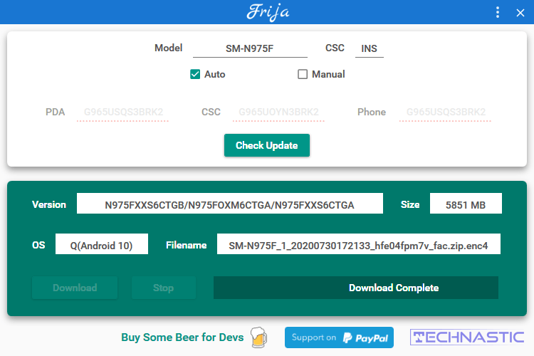 Samsung firmware download complete