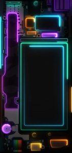 neon phone board dot notch wallpaper