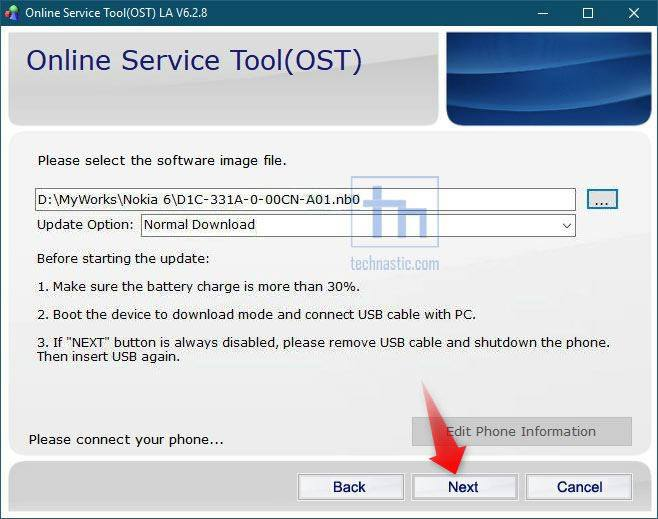 add firmware to nokia ost tool