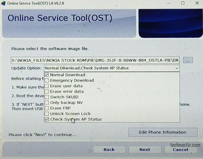 nokia ost tool options