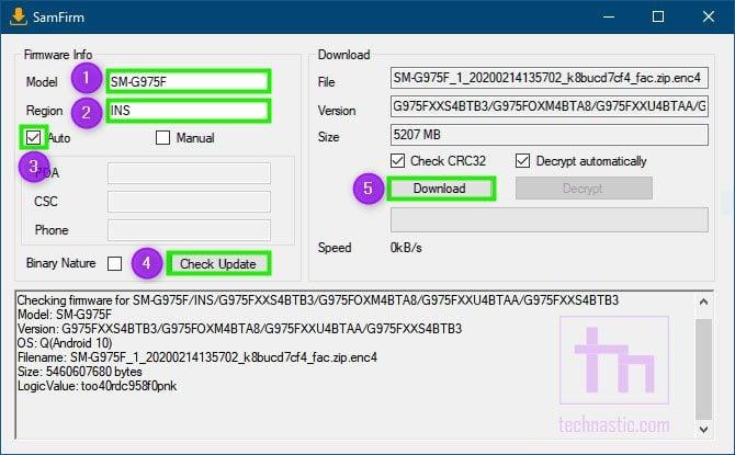 samfirm firmware download tool