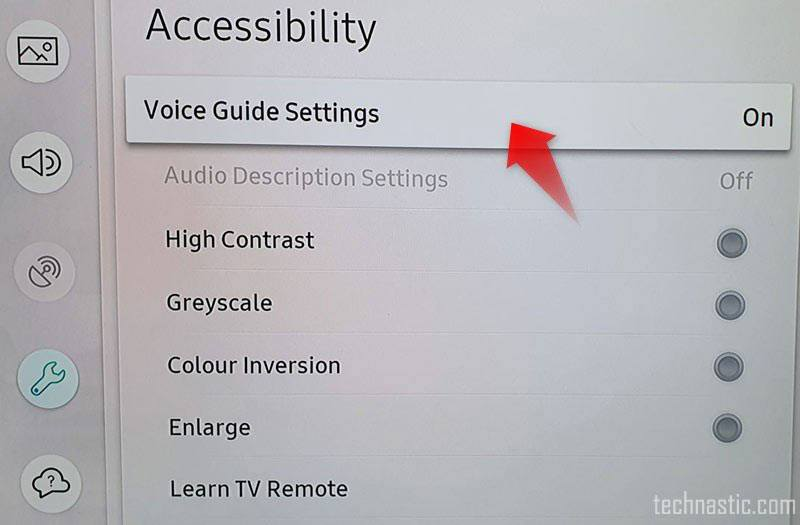 samsung tv accessibility menu
