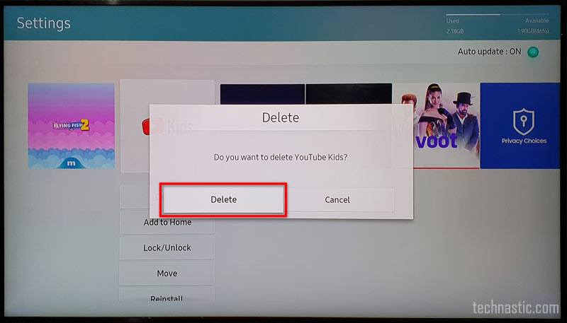 confirm app deletion samsung tv