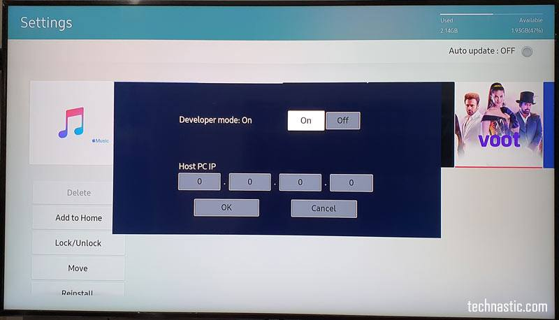 samsung tv developer mode on