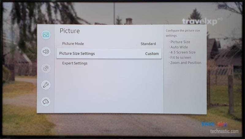 smaung smart tv picture size settings