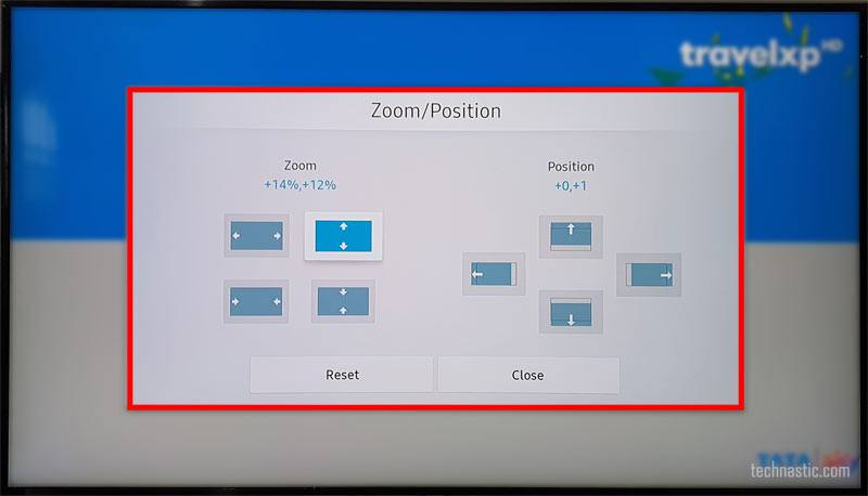 smasung tv screen zoom and position