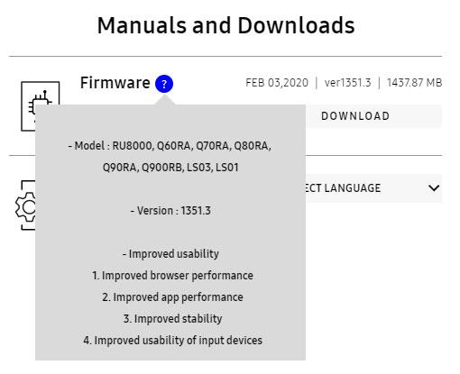 samsung tv firmware details