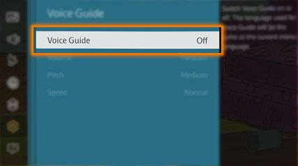 samsung tv voice guide off