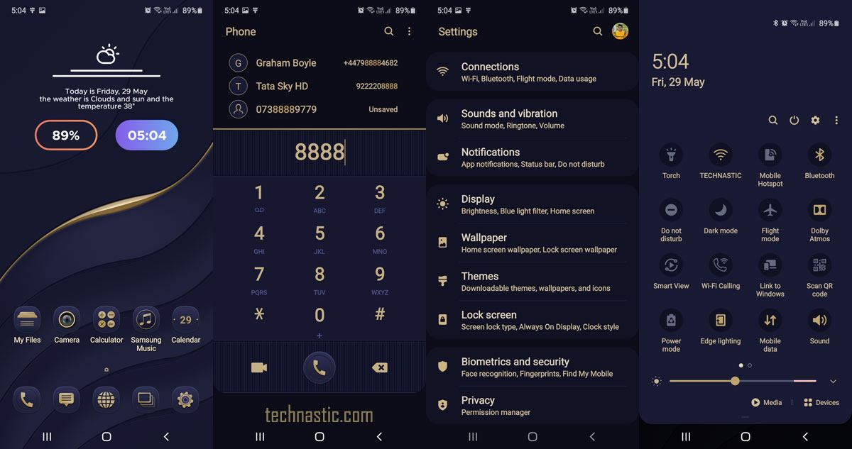 gold and stormy blue one ui 2 theme