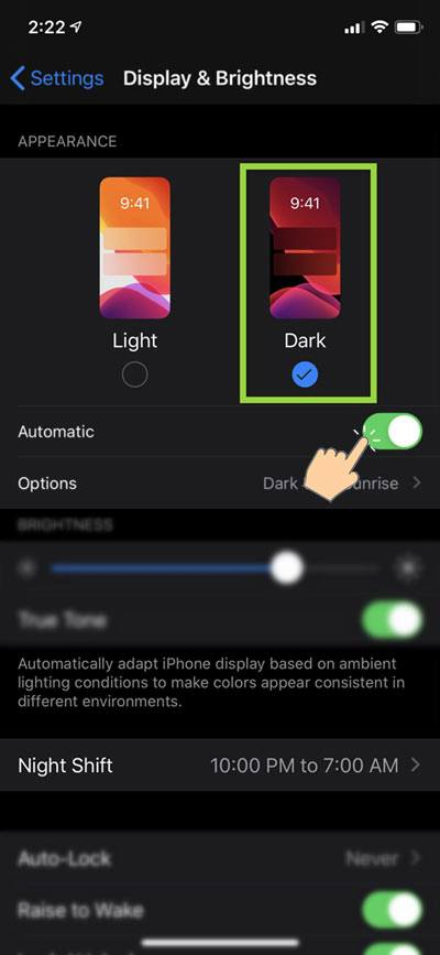 ios light and dark mode option