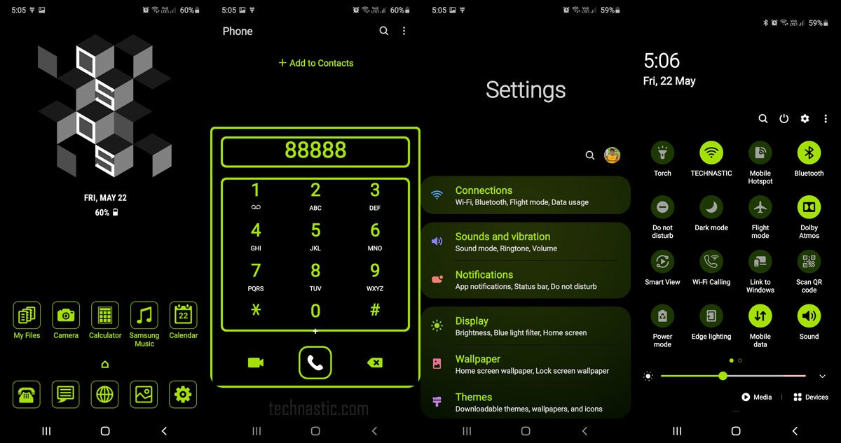 neon green one ui dark theme