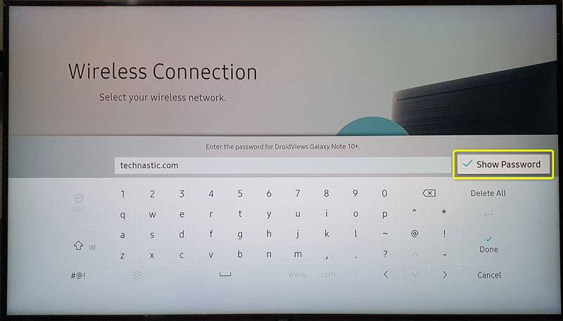 samsung tv wifi password