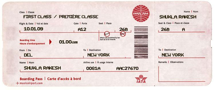fake air ticket delhi to new york