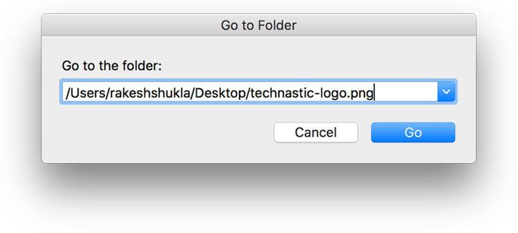 file path in go to folder mac os