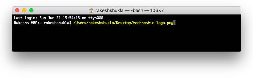 file path in mac terminal