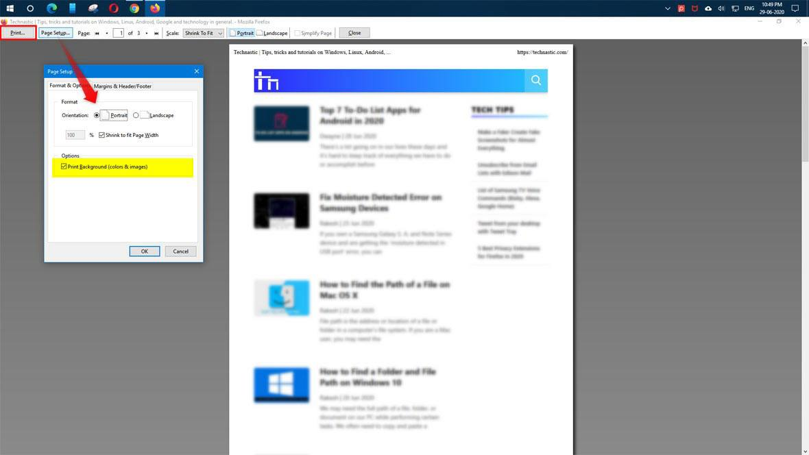 firefox print webpage option