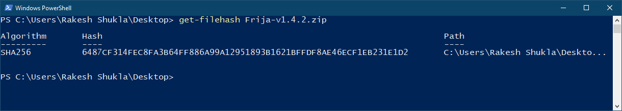 hash checker command windows