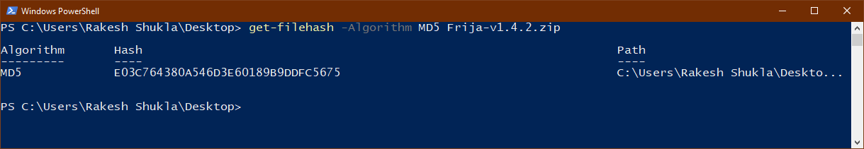 md5 checksum windows command