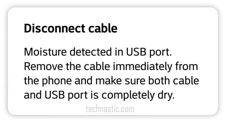 moisture detected in usb port samsung
