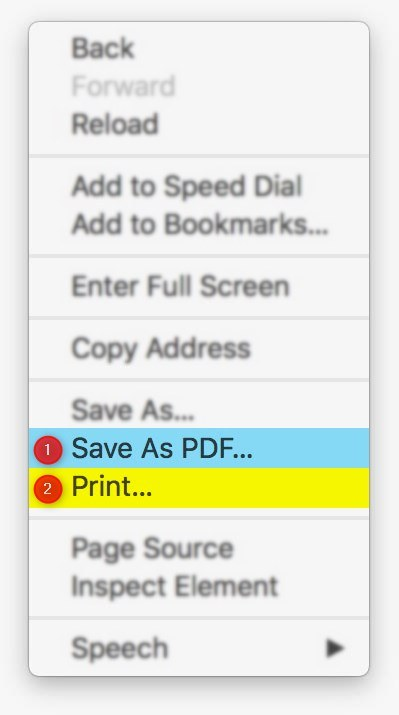 Opera save webpage as pdf and print options