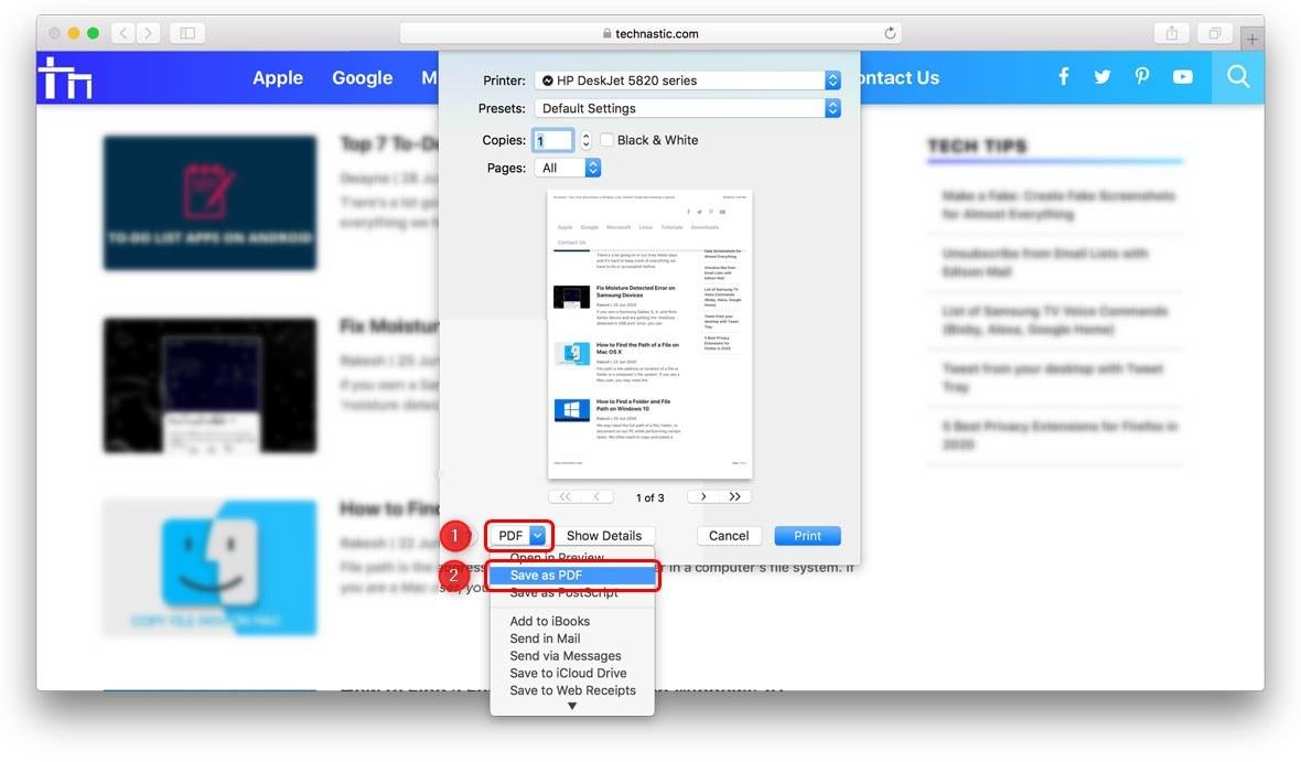 save webpage as pdf in safari on mac