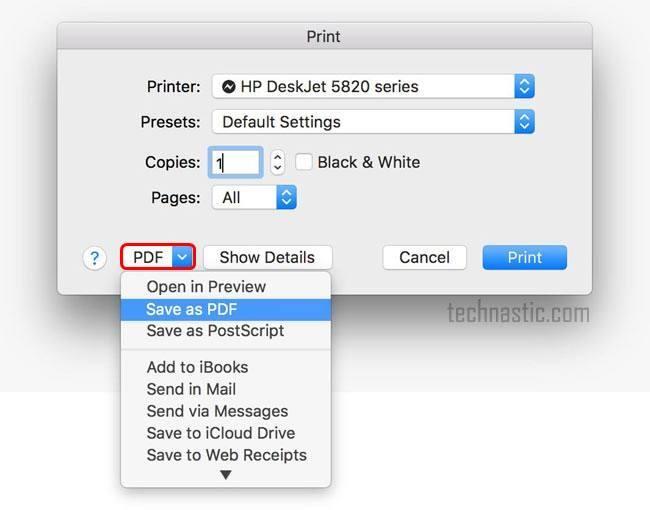 save webpage as pdf in firefox mac