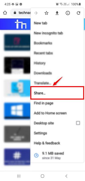 chrome browser webpage share option