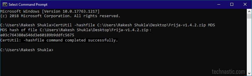windows 10 certutil -hashfile command