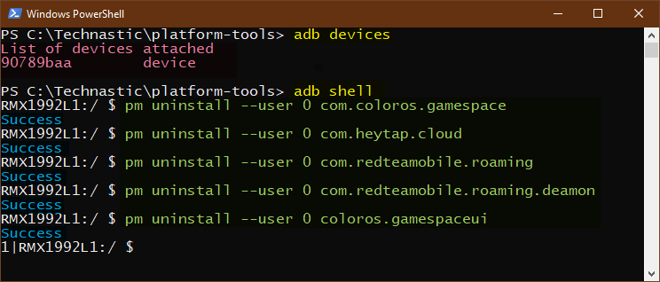 uninstall system app in color os
