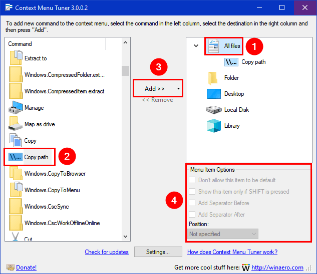 context menu tuner windows