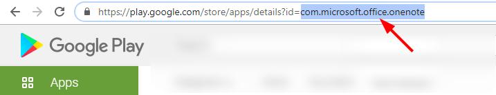app package name in play store url