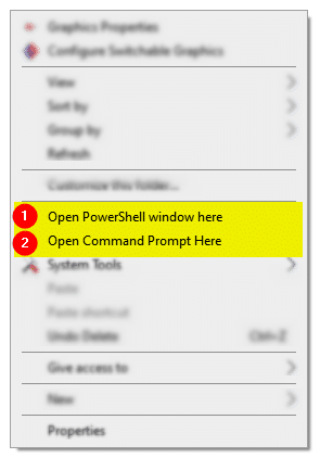 open command and powershell window