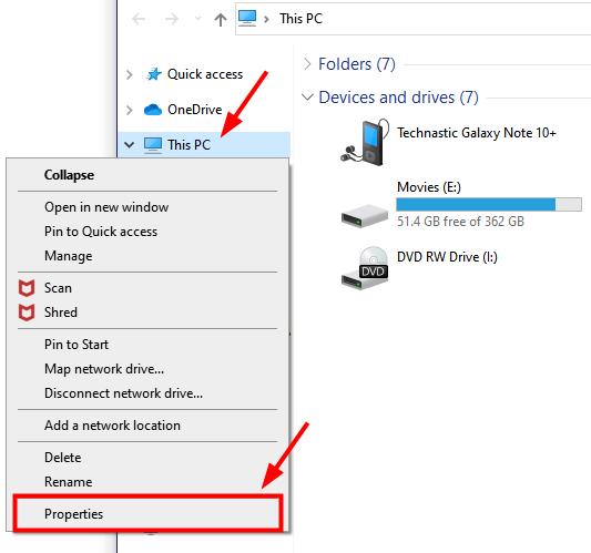 windows pc system properties