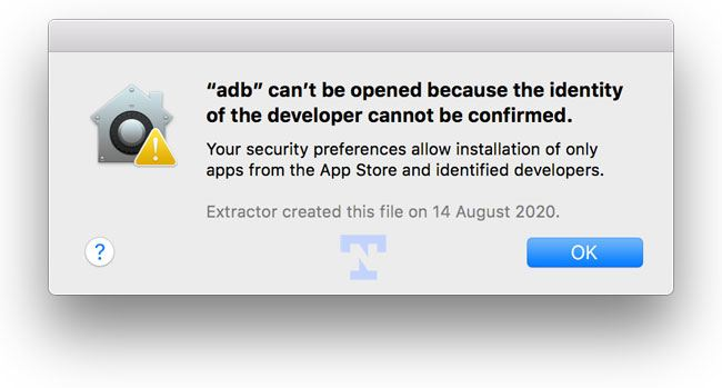 adb can't be opened error mac