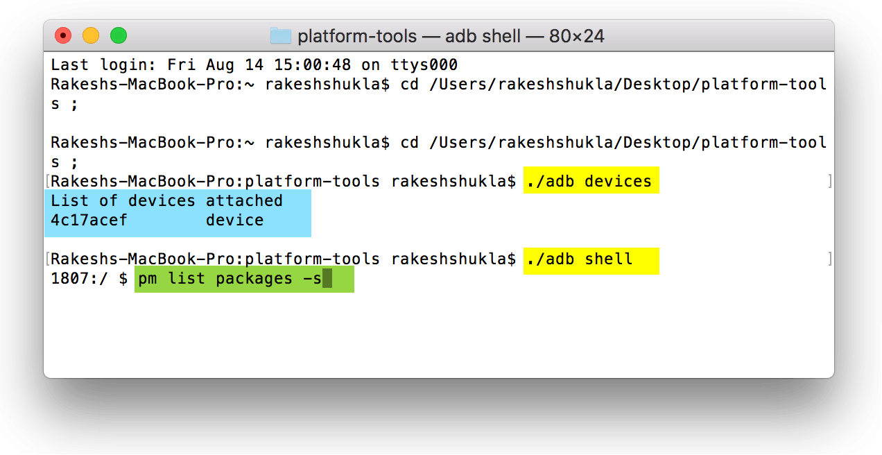adb shell list packages command mac terminal