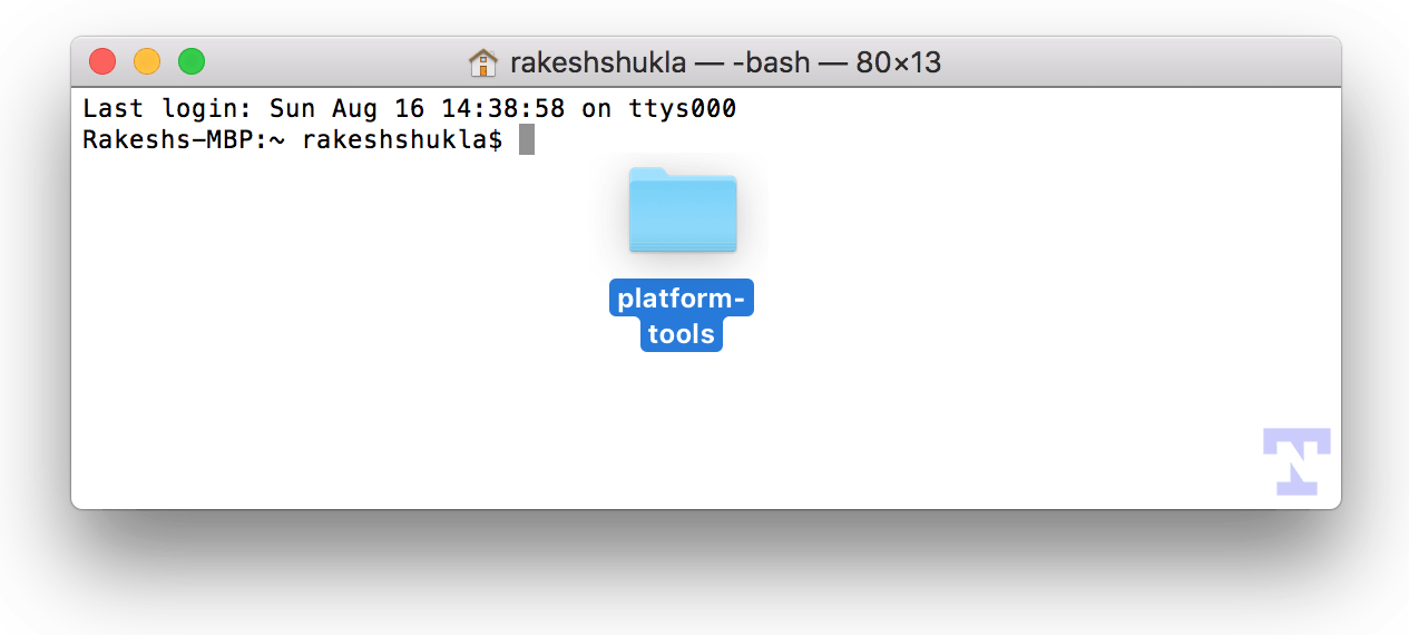 drag adb fastboot folder to mac terminal