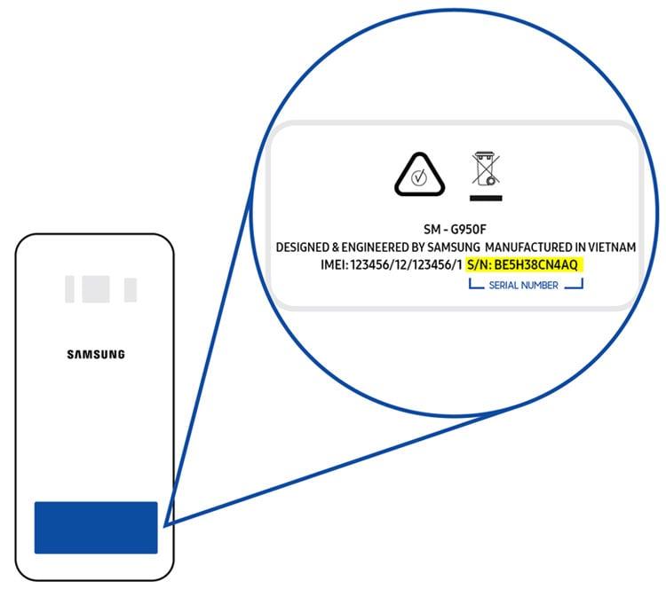 samsung phone or tablet serial number