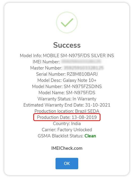 use samsung imei to check date of manufacture