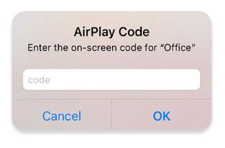 enter airplay code to start iphone mirroring